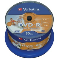 DVD-R Verbatim, 4.7GB 16x, Cakebox50 bedruckbar
