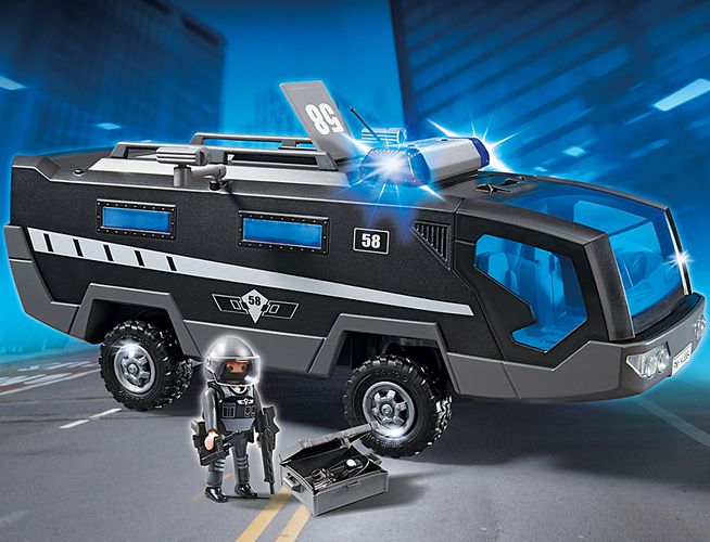 playmobil city action sek einsatztruck mit licht und. Black Bedroom Furniture Sets. Home Design Ideas