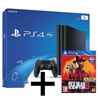 Sony Playstation 4 Pro (1 TB), schwarz + Red Dead Redemption 2 (Playstation 4)