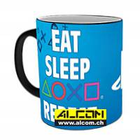 Tasse: Sony Playstation - Eat Sleep Repeat (mit Thermoeffekt)
