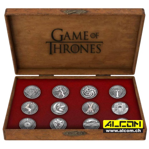 Ansteck-Pins: Game of Thrones 12er-Pack - House Emblems
