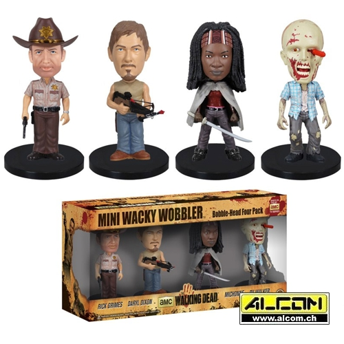 Wackelkopf-Set: The Walking Dead, 4 Figuren (ca. 8 cm)