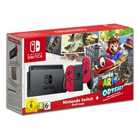 Nintendo Switch Rot + Spiel Super Mario Odyssey (Switch)
