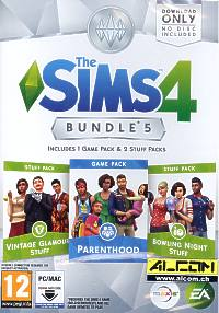 Die Sims 4 Add-on: Bowling Night, Parenthood, Vint.Glamour  (Code in a Box) (PC-Spiel)